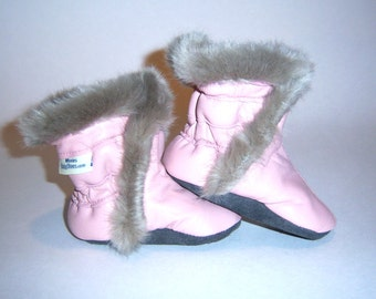 leather booties pink  booties warm for winter - handmade boots - booties for winter - pink with grey fur girl booties