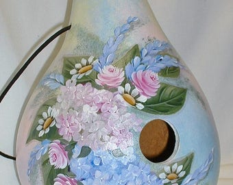 Hydrangea with Roses and Daisies Flower Garden Gourd Birdhouse - Hand Painted Gourd