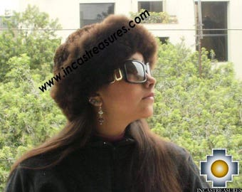 100% Baby Alpaca fur hat cuajone Brown - FREE SHIPPING Worldwide