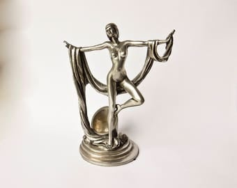 Art Deco Candlestick, Pewter Candlestick, Naked Lady Candle Holder, Signed Pewter Candle Holder
