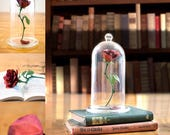 Beauty and the Beast Rose Centerpiece, Enchanted Rose, Glass Cloche Bell Jar, Beauty and the Beast rose dome, Floating Rose Centerpiece Prop