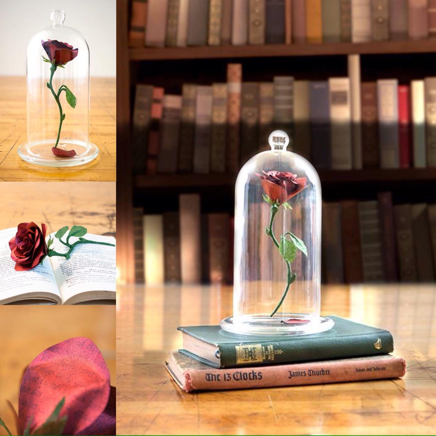 Beauty and the beast rose centerpiece enchanted glass