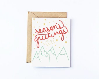 Season's Greetings Christmas Cards Recycled Paper Greeting Card Set Holiday Cards Hand Lettered