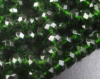 Glass Bead 12 Emerald Green AB Rondelle Faceted 10mm x 7mm (1014gla10g4)