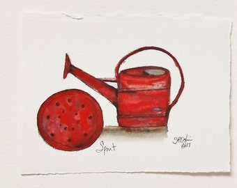 Watering Can and Spout, ORIGINAL 4 x 6, watercolor and ink