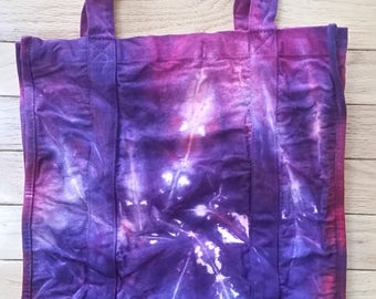 Tie-dyed eco-friendly heavy duty re-useable shopping bag - purple with pink