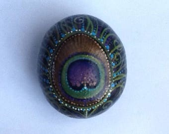 PEACOCK FEATHER painted rock art decorative beach stone