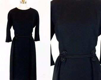 "Vintage 1950s Black Cocktail Dress Femme Fatale Film Noir 28"" Waist"
