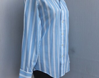 Vintage Shirt, French Cull Link Shirt, Men's Vintage Shirt, Blue Stripe Shirt,  Mansome Gift, Size 14.5, Tapered