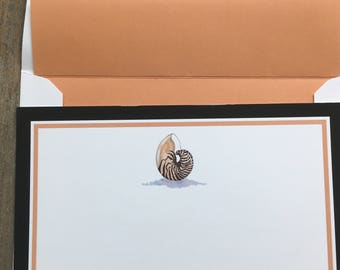 Nautilus Sea Shell Note Cards, Sea Shell Note Cards, Sea Shell Stationery ,Beach Stationery, Nautilus Shell Note Cards,Blank Sea Shell Cards