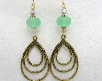 Lampwork Earrings Spring Green Earrings Glass Bead Earrings Dangle Drop Earrings Dangle Antiqued Gold Triple Teardrop Charm SRAJD