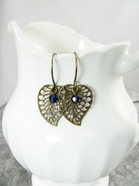 Antique brass filigree leaf earrings, Sapphire Blue Crystal Accent