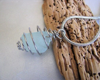 Seafoam Sea Glass - Sea Glass Pendant - Caged  Seafoam Necklace - Ocean Pendant Necklace - Seafoam Sea Glass in Silver Cage