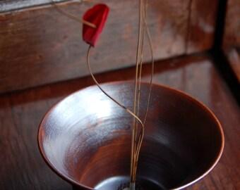 Vase Ikebana Style Bud Vase in Antique Brown
