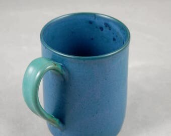 Monster Mug Holds 28 oz in Teal Blue with Teal Green Handle for Coffee Tea or Anything