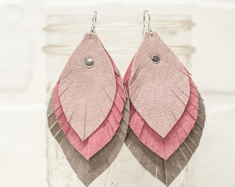 pink ombre leather earrings, repurposed leather, leather earrings, repurposed, feather earrings, ombre, handmade,  stacylynnc