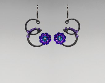 Heliotrope Swarovski Crystal Industrial Earrings, Iridescent Crystal, Purple Wire Wrapping, Unique Jewelry, Biohazard Purple II v4