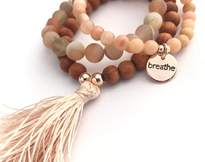 stack mala tassel set bracelets breathe charm rose gold, yoga jewelry, breathe charm bracelet, tassel bracelet, bracelet set, peach bracelet