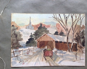 Vintage Covered Bridge Watercolor Painting Snowy Winter Scene Horse Drawn Sleigh