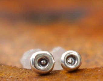 tiny dimpled silver stud earring or nose ring - handmade approximately 3mm diameter- sold as a single buy two for a pair