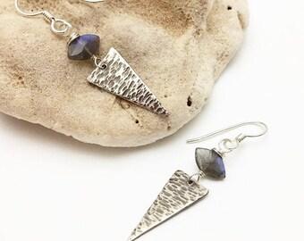 Oxidized Silver Spike & Labradorite Earrings (E443OS) - handcraftedwire jewelry by cristysjewelry on etsy