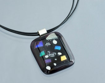 Black Pendant / Fused Glass Necklace / Fused Glass Pendant / Statement Jewelry / Gift For Her / Gift Ideas / Fused Glass Jewelry