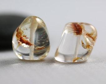 Natural Aquamarine Beads - Nugget Pair - Aquamarine Beads - 15mm