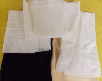 Lot 5 vintage half slips, S/M, Van Raalte black lace, Gossard white, Komar chiffon, Vanity Fair beige