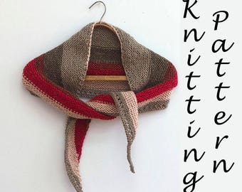 Caron Cakes Shawl Knitting Pattern, One Skein Shawl Pattern, Easy Knitting Pattern PDF Instant Download