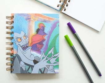 Blank Notebook – Hades – Villains – Hercules – Old Book Page – Journal – Sketchbook – Spiral Notebook – Autograph Book – Graduation