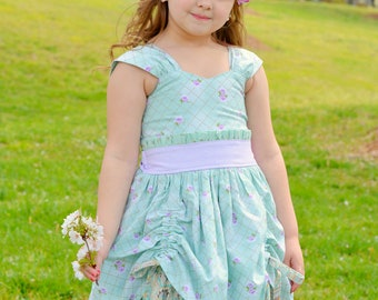 Girls Mint and Lavender Ruffled Dress - Girls Fancy Party Dress - Lavender Dress -