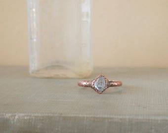 Herkimer Diamond Ring Electroformed Copper Size 7.75 - Engagement Ring - Promise Ring