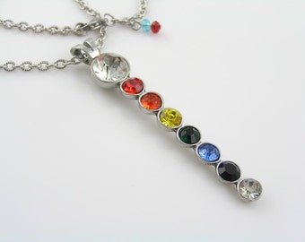 Chakra Necklace, Long Chakra Crystal Necklace, Chakra Colours Pendant, Stainless Steel Necklace, Chakra Jewelry