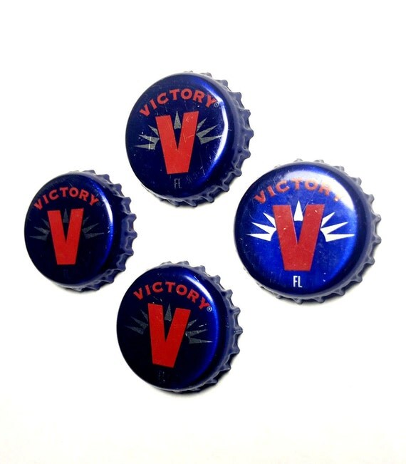 Beer Magnets, Bottle Cap Magnets, Victory Bottle Cap Magnets, Bar Magnet Set, Four Beer Bottle Magnets, Pitbull Magnets, Microbrew Magnets
