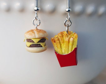Cheeseburger and French Fry Earrings - Food Jewelry - Mix and Match