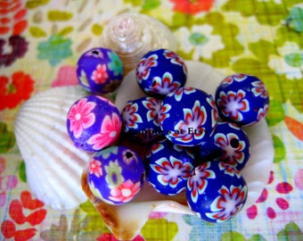 Sale Organic navy Blue green pink floral Polymer Clay Beads Round  beads 10mm-Fancy handmade Floral beads- Floral  Pink purple red colors