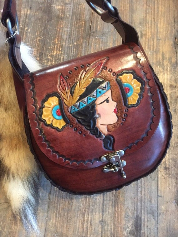 READY TO SHIP Tiger Lily Hand Tooled Leather Tattoo Flash Pin Up Purse Handbag
