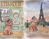 Watercolor Custom portrait of your Pet in Paris 8.25 x 11 inches
