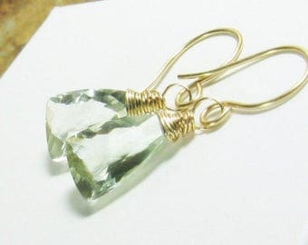 Pastel Gold Drop Earrings, Green Quartz Gold Filled, Pyramid Gemstones