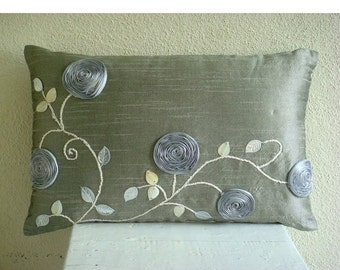 15% HOLIDAY SALE Decorative Oblong / Lumbar Rectangle Throw Pillow Covers Accent Pillow Couch 12x16 Silver Silk Pillows Ribbon Embroidered S