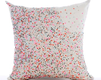"""Handmade Multi color Pillow Covers, 16""""x16"""" Silk Pillows Cover, Square  Sequins Ombre Club & Lounge Theme Pillows Cover - Wonderland Dust"""