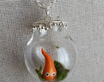 Calcifer Terrarium Necklace, Miniature Fire Demon in a Fancy Glass Globe Pendant, Hypoallergenic Chain, Miniature Terrarium Jewelry