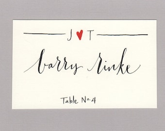 Custom monogram place card with calligraphy, table number