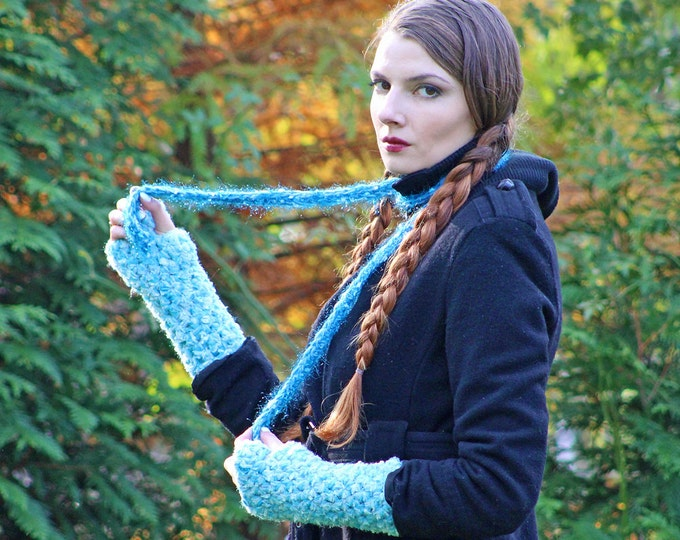 Soft Blue Fingerless Gloves and Skinny Scarf  Set Long Soft Accesory  Gift for Girls, Teens or Women