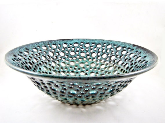 Pottery fruit bowl , fruit bowl , teal blue pottery , modern home decor , turquoise ceramic - In stock 31 FB M