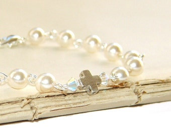 White Pearl Silver Cross Linked Bracelet, Christian Jewelry for Women or Teens