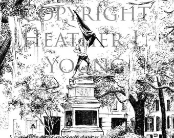 Madison Square Savannah Black and White Pen and Ink Art Print