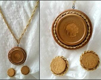 Necklace Earrings, ART, wooden nickel Indian head silhouette, big medallion, clip on ears, Retro vintage costume jewelry,