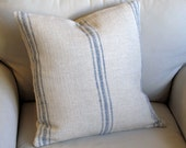 French Laundry  pillow cover BLUE Stripes 20x20