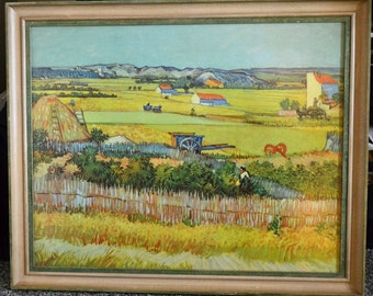Vintage Van Gogh Print, Harvest at LaCrau, well framed by JJ Gillespie, 40s/50s